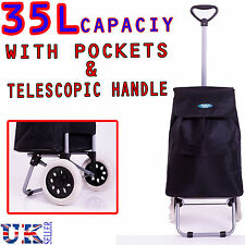 New EAGLE 35L 2 WHEELED HARD WEARING SHOPPING TROLLEY CART BAG WITH POCKET BLACK