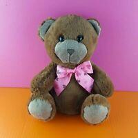 "Homerbest Plush Brown Teddy Bear 11"" Stuffed Animal Pink Heart Bow Striped"