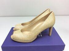 Stuart Weitzman Annamimic Gold Noir Glitter Peep Toe Heels Pump 7 M Bridal