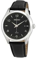 Seiko Men's Solar 100m Stainless Steel/Black Leather Watch SNE495