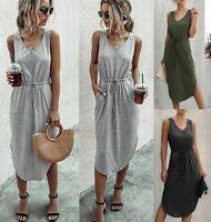 Womens Casual Long Loose summer Dress women's V Neck beach Women Dresses