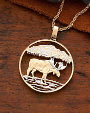 "Moose Pendant & Necklace. Canada 50 Cents Hand cut. 1-1/8"" diameter ( # 419 )"