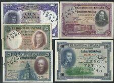 Lote de 5 piezas de 1925 1931 pesetas contrasello TETUAN Marruecos TANGER 1940