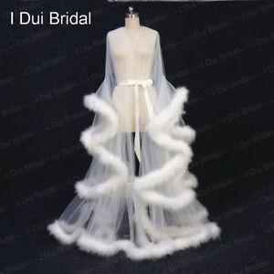 Ivory Marabou Feather Robe Costume Accessory Fancy Dress Boudoir Robe