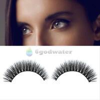1 Pair BLACK Handmade NATURAL MINK HAIR Long Thick Eye Lashes False Eyelashes