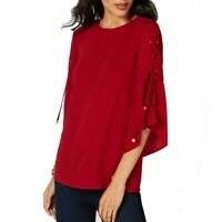 MICHAEL KORS NEW Women's Petites Laced-sleeve Blouse Shirt Top TEDO