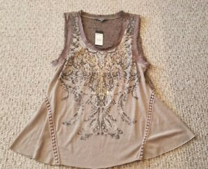 New! Women's Size Small Miss Me Brown Tank Top
