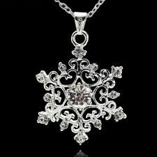 925 Silver Filled Snowflake White Snow CZ Topaz Crystal Pendants Xmas Jewelry