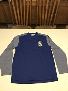 NEW Mens Majestic Therma Base Seattle Mariners MLB L/S Pullover Baseball Size M