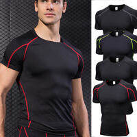 Men's Compression Tops Gym Sportswear Athletic Shirts Stretchy Dri-fit Tee Black
