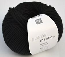RICO ESSENTIALS MERINO DK knitting wool shade 90 black