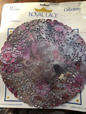 "Royal Lace 10"" Doilies Round Lace & Roses Pack of 12 #23234 New in Package"