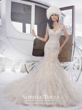 SOPHIA TOLLI WEDDING GOWN 'BLAKE' #21502 IVORY FIT AND FLARE BRIDAL GOWN SIZE 8