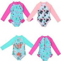 Girls One-piece Swimsuit Swimwear Bathing Suit Long Sleeves Rash Guard Beachwear
