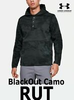 "MEN'S UA RUT FLEECE ""BLACKOUT"" CAMO STORM BLACK PULLOVER HUNT 1343219-998 XL"