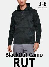 "MEN'S UA RUT FLEECE ""BLACKOUT"" CAMO STORM BLACK PULLOVER HUNT 1343219-998 LARGE"