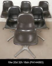 Six Black Mid-Century Modern Swivel Chairs (PA144893)NZ