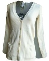Ralph Lauren Black Label Womens Cashmere White Striped Button Cardigan Size XS