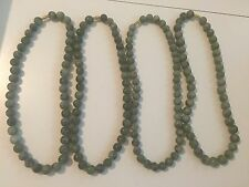 PRETTY HANDMADE 10mm Green Jade Beads Necklace ~LOT OF 4~
