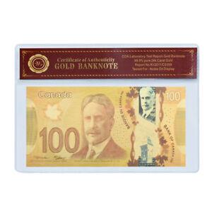 WR 2011 Canada / Kanada 100 Dollar Polymer 24K Gold Farbiger Banknote / w COA