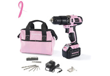 WORKPRO Pink Cordless 20V Lithium-ion Drill Driver Set 1.5Ah 1 Battery Charge