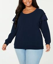 2X Plus Jessica Simpson Women's Jayna Ruffle Detail Long Sleeve Sweater Blue