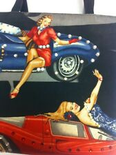 PIN UP GIRLS ON HOT RODS VINTAGE PURSE-HANDBAG-TOTE SUPER CUTE!!!!! RARE!!!