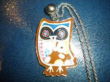 Vintage Retro Charming Multicolour Enamel Owl Carved Awesome Necklace Pendant UK
