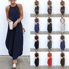 Plus Size Women Sexy Sleeveless Spaghetti Strap Summer Holiday Party Maxi Dress