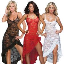 Sexy Women Lingerie Floral Lace Sleepwear Underwear Long Dress See-Thru Babydoll