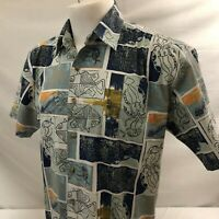 Kahala Mens Hawaiian Aloha Shirt Medium Tapa Fish Squid Made in USA 100% Cotton