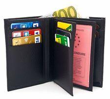 Portefeuille  noir cuir synthétique Porte cartes, permis Homme