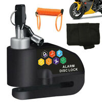 110DB Motorcycle Anti-theft Wheel Disc Lock Security Alarm With Bag Brake Cable