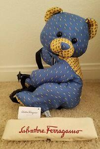 "Rare Brand NWT Auth Salvatore  ferragamo Bear 18"" Silk Bag Backpack Gorgeous"