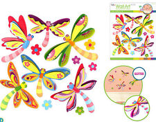 DRAGONFLIES glitter 3D wall stickers 12 colorful decals room decor flowers bugs