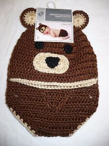 Baby Hand Crocheted Hat & Diaper Cover 2 Piece Set 0-9 Months Brown Bear New