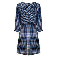 Vintage Style Blue 100% Cotton Checked Plaid Tartan Dress w Pockets BNWT Size 18