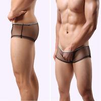 Sexy Men Mesh Sheer Boxer Briefs Underwear Trunks Transparent Shorts Size M/L/XL