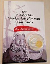 2018 China Philadelphia Worlds Fair of Money Show Panda 1 oz Silver Proof Medal