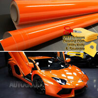 "120"" x 60"" Super Gloss Orange Vinyl Film Wrap Sticker Air Bubble Free 10ft x 5ft"