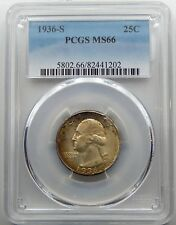 1936 S Washington Quarter - PCGS Certified MS66 !!