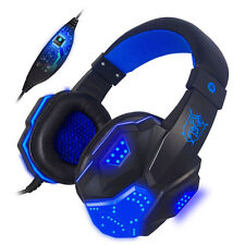 Surround Stereo Gaming Headset Kopfhörer USB 3.5mm mit LED Mikrofon for PC