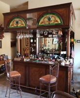 Vintage Home Bar with mahogany wood, canopy style, four chairs, Mexico made!