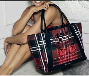 Victoria's Secret Black & Red TARTAN / PLAID Tote Bag