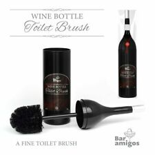 Red Wine Bottle Toilet Brush Novelty Loo lavatory Bog Bathroom Gift Black Holder
