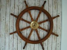 "36"" Wood Ship Wheel ~ Large Boat Steering ~ Wooden Nautical Captains Decor Gift"