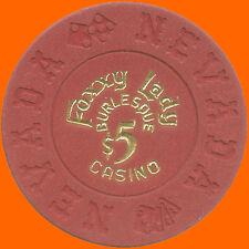 FOXXY LADY $5 1990's BILL BORLAND CASINO CHIP LAS VEGAS NV - FREE SHIPPING