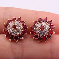 18K Gold Filled - Clear Ruby Topaz Zircon Gemstone Flower Prom Ladies Earrings