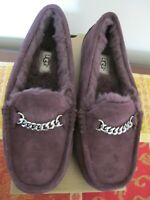UGG Ansley Charms Purple Winter Suede Fur Moccasin Women's Slipper NEW