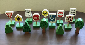 14 Mellisa and Doug Lot of wooden traffic Road Train signs & Trees